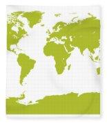 Map In Chartreuse Green Fleece Blanket