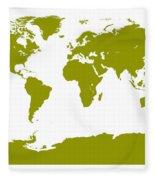 Map In Olive Green Fleece Blanket