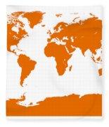 Map In Orange Fleece Blanket