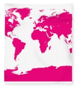 Map In Pink Fleece Blanket