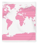 Map In Pink Stripes Fleece Blanket