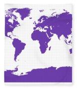 Map In Purple Fleece Blanket