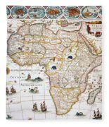 Map Of Africa, 1630 Fleece Blanket