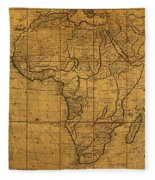 Map Of Africa Circa 1829 On Worn Canvas Fleece Blanket