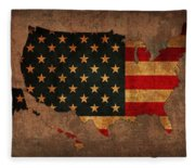 Map Of America United States Usa With Flag Art On Distressed Worn Canvas Fleece Blanket