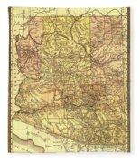 Map Of Arizona 1883 Fleece Blanket