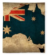 Map Of Australia With Flag Art On Distressed Worn Canvas Fleece Blanket