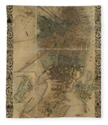 Map Of Boston 1852 Fleece Blanket