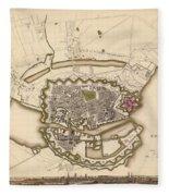 Map Of Copenhagen 1837 Fleece Blanket