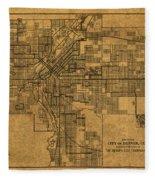 Map Of Denver Colorado City Street Railroad Schematic Cartography Circa 1903 On Worn Canvas Fleece Blanket