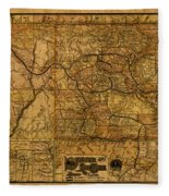 Map Of Denver Rio Grande Railroad System Including New Mexico Circa 1889 Fleece Blanket