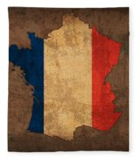 Map Of France With Flag Art On Distressed Worn Canvas Fleece Blanket