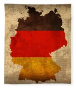 Map Of Germany With Flag Art On Distressed Worn Canvas Fleece Blanket