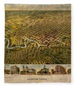 Map Of Houston Texas Circa 1891 On Worn Distressed Canvas Fleece Blanket