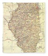 Map Of Illinois 1881 Fleece Blanket