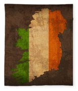Map Of Ireland With Flag Art On Distressed Worn Canvas Fleece Blanket by Design Turnpike
