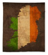 Map Of Ireland With Flag Art On Distressed Worn Canvas Fleece Blanket