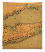 Map Of Long Island 1888 Fleece Blanket