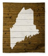 Map Of Maine State Outline White Distressed Paint On Reclaimed Wood Planks. Fleece Blanket