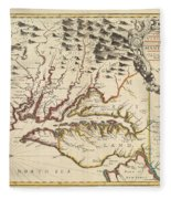Map Of Maryland 1676 Fleece Blanket