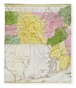 Map Of Massachusetts, From Historical Collections Of Massachusetts, By John Warren Barber, 1839 Fleece Blanket