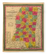 Map Of Mississippi 1850 Fleece Blanket