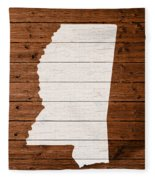 Map Of Mississippi State Outline White Distressed Paint On Reclaimed Wood Planks. Fleece Blanket