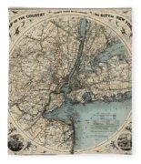 Map Of New York 1891 Fleece Blanket