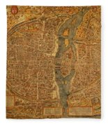 Map Of Paris France Circa 1550 On Worn Canvas Fleece Blanket