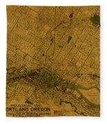 Map Of Portland Oregon City Street Schematic Cartography Circa 1924 On Worn Parchment  Fleece Blanket