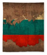 Map Of Russia With Flag Art On Distressed Worn Canvas Fleece Blanket
