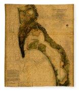 Map Of San Diego Bay California Circa 1857 On Worn Distressed Canvas Parchment Fleece Blanket