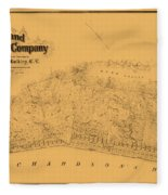Map Of Sausalito 1868 Fleece Blanket