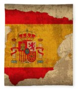Map Of Spain With Flag Art On Distressed Worn Canvas Fleece Blanket