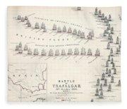 Map Of The Battle Of Trafalgar Fleece Blanket