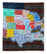 Map Of The United States In Vintage License Plates On American Flag Fleece Blanket by Design Turnpike