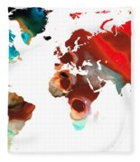 Map Of The World 5 -colorful Abstract Art Fleece Blanket