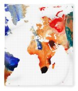 Map Of The World 8 -colorful Abstract Art Fleece Blanket