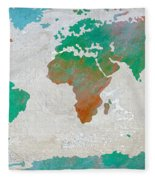 Map Of The World - Colors Of Earth And Water Fleece Blanket