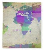 Map Of The World - Plaid Watercolor Splatter Fleece Blanket
