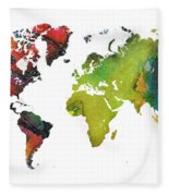 Map Of The World Red Green Fleece Blanket