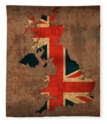Map Of United Kingdom With Flag Art On Distressed Worn Canvas Fleece Blanket