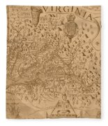 Map Of Virginia 1698 Fleece Blanket