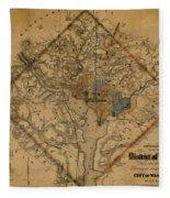 Map Of Washington 1862 Fleece Blanket