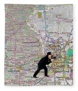 Map Overland Park Kansas Fleece Blanket