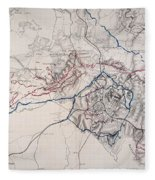 Map: Siege Of Atlanta 1864 Fleece Blanket