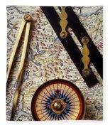 Map With Compass Tools Fleece Blanket