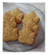 Maple Leaf Cookies And Milk - Food Art - Kitchen Fleece Blanket