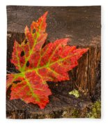 Maple Leaf On Oak Stump Fleece Blanket