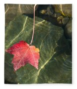 Maple Leaf On Water Fleece Blanket